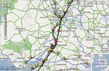 screenshot of live trains map